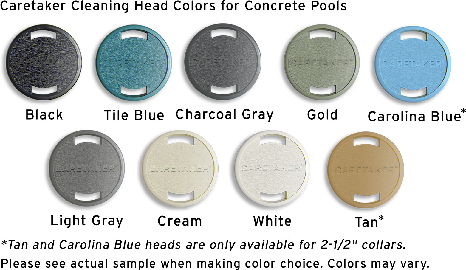 Caretaker Head Colors for Concreate Pools