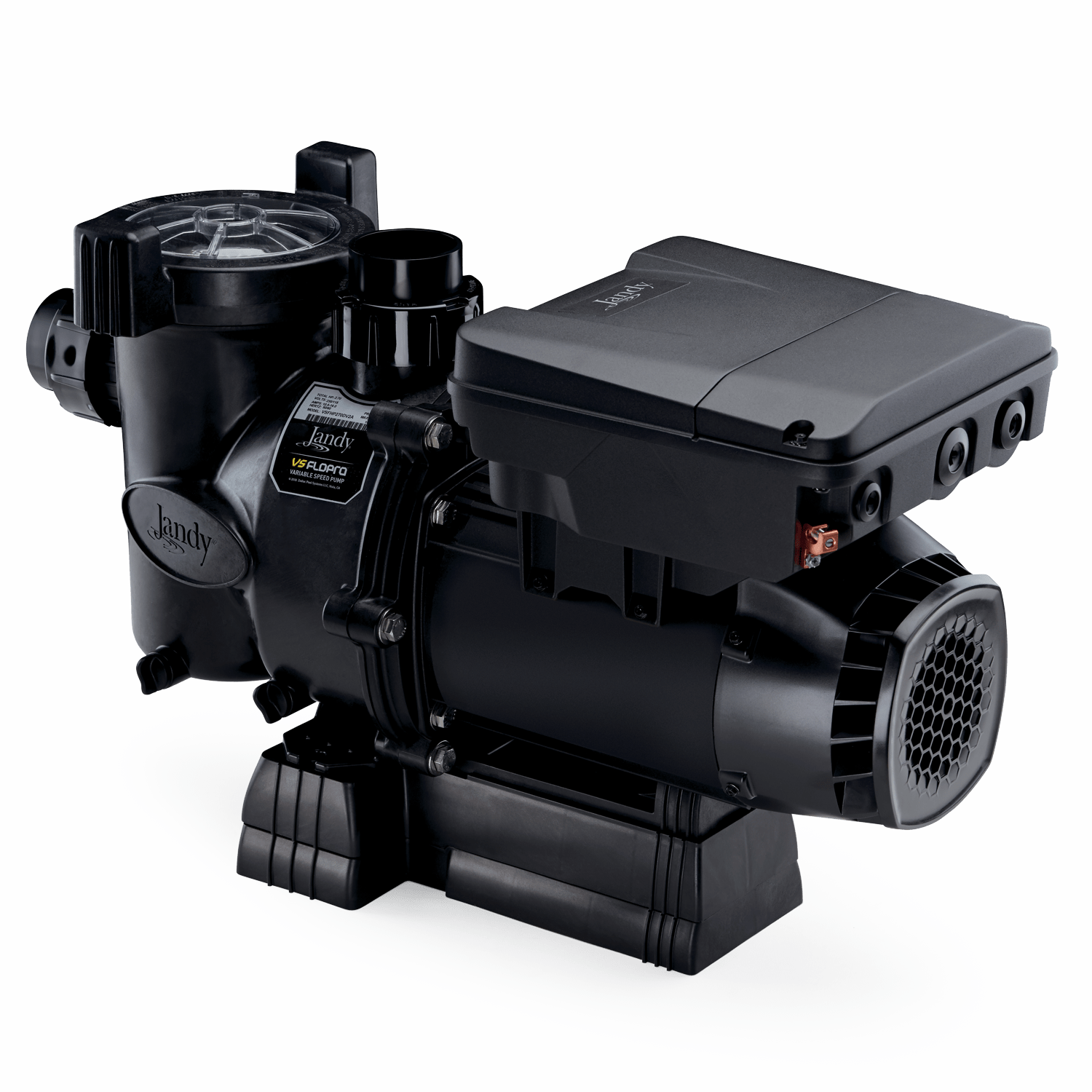 Jandy VS FloPro 1.85 HP Pump side view displaying adjustable base height