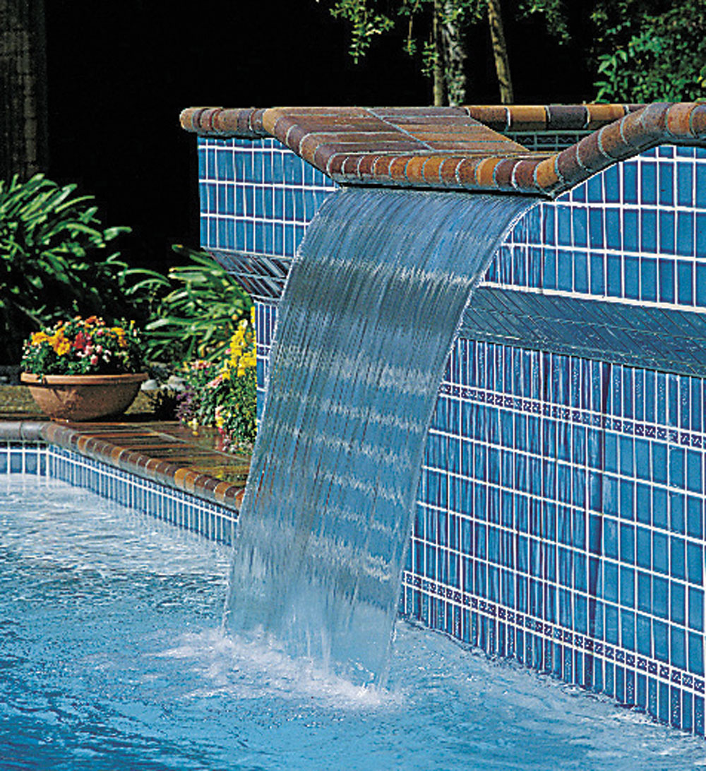 Sheer descent cascade jandy pro series for Pool design waterfall